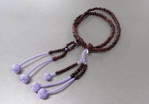 ◆法華用本連8寸 素挽紫檀 共仕立 かがり梵天 日蓮宗108珠