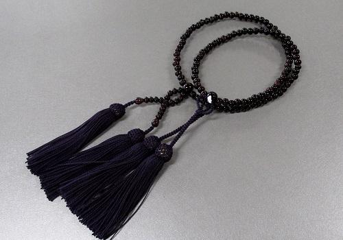 ●8寸真宗用 紫檀共仕立 人絹頭房 本連108珠