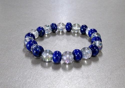 ◆ブレス ラピスラズリミカン玉・レインボー水晶