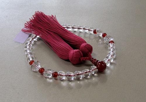 ◆女性用片手念珠 想結 水晶7�o玉瑪瑙仕立 正絹房