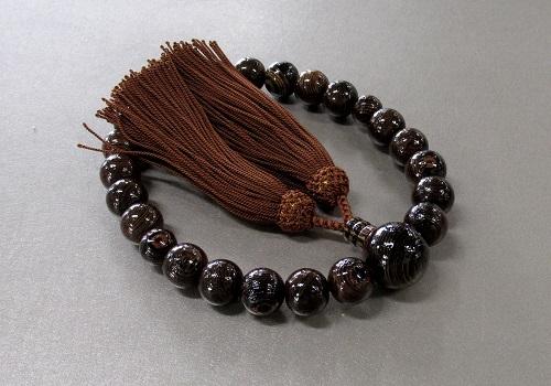 □男性用片手念珠 鉄刀木共仕立 人絹頭房 茶