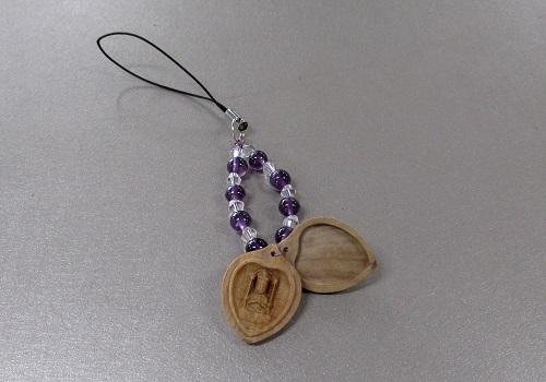 □白檀八体仏ストラップ 紫水晶 子 千手観音菩薩