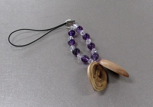□白檀八体仏ストラップ 紫水晶 卯 文殊菩薩