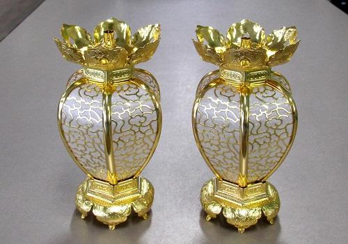 ●真鍮 陰雲型院玄灯籠 (小) 本金 1対入