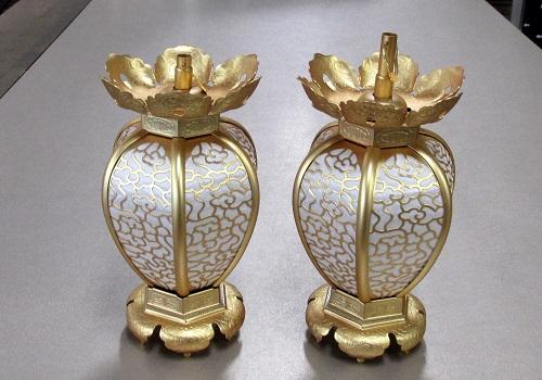 ◆真鍮 陰雲型院玄灯籠 (中) 消金 1対入