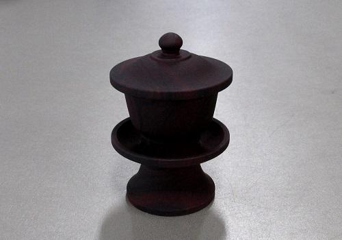 ●湯呑・茶湯器 上ダルマ型 紫檀色