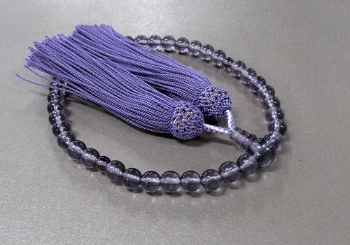 ○女性用片手念珠 GXガラス(薄紫)7�o玉共仕立 人絹頭房