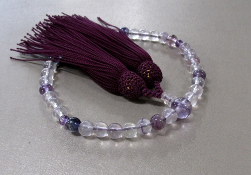 ○女性用片手念珠 紫蛍石7�o玉共仕立 正絹頭房(紫)