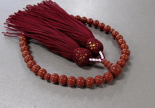 ○女性用片手念珠 レッドジャスパー7�o玉共仕立 正絹頭房