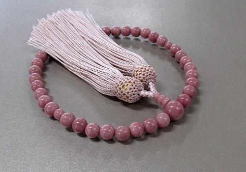 ○女性用片手念珠 ローズジャスパー7�o玉共仕立 正絹頭房