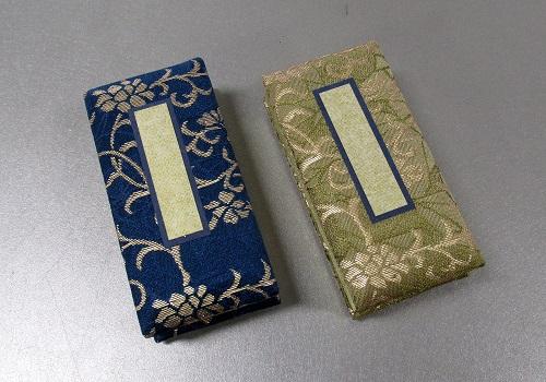 □錦金襴 鳥の子過去帳 3.0寸日付入 緑箱 金紗・碧光