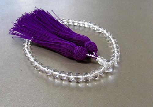 □女性用片手念珠 水晶7�o玉共仕立 正絹細房 (紫)