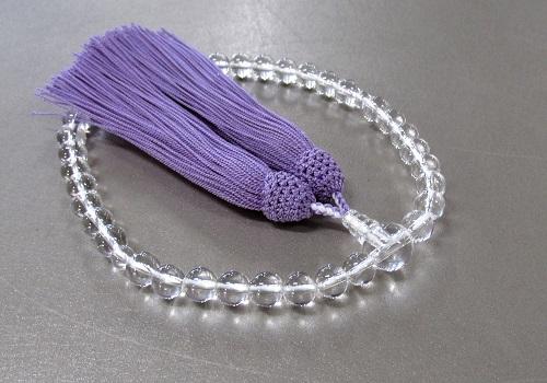 □女性用片手念珠 水晶7�o玉共仕立 正絹細房 (藤)