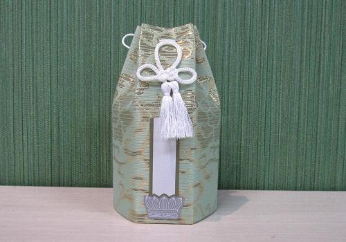 ●六角骨覆 骨袋六角 2.0寸用 朧蓮華 グリーン 分骨袋