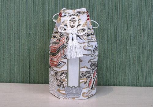 ●六角骨覆 骨袋六角 2.0寸用 楼閣鳳凰 白 分骨袋