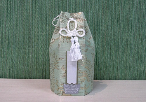 ◇六角骨覆 骨袋六角 2.5寸用 朧鳳凰 グリーン 分骨袋