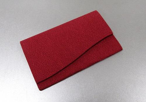 ○念珠袋 無地 赤 留め具:ボタン
