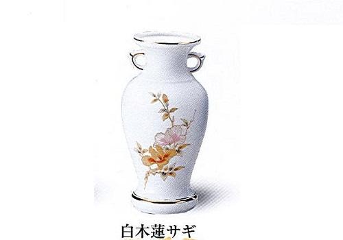 ◇花瓶・サギ型花立 白木蓮サギ 7.0寸×1対(2本入)