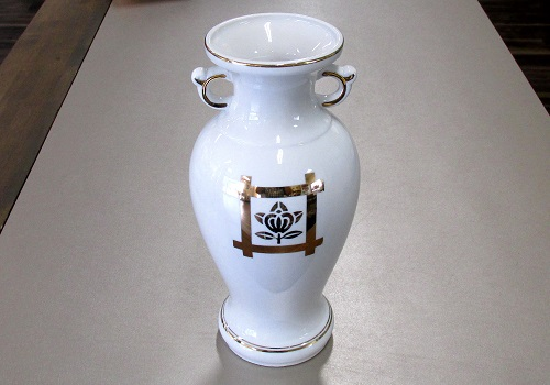 ◇花瓶・サギ型花立 井桁橘サギ 6.0寸×1対(2本入)