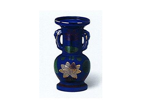 ◇花瓶・花立 金ハス葉ルリ並仏花 中×1ケース(16ヶ入)