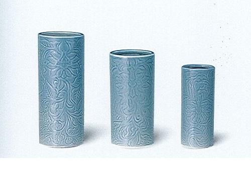 △花瓶 青磁唐草投入 8.0寸×1ケース(16本入)
