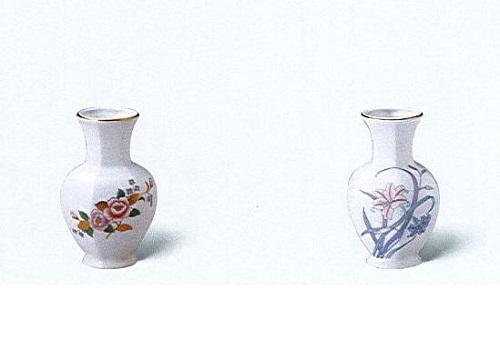 △美濃焼花瓶 5号太口花瓶 ボタン・ユリ×一対(2ヶ)