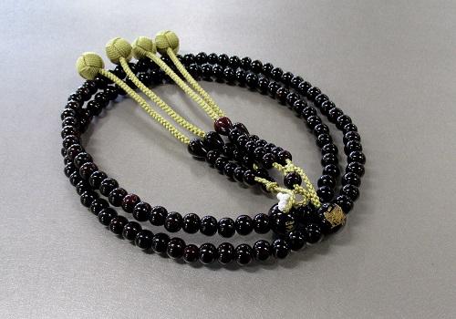 ○弘法大師彫入念珠 振分尺2 紫檀共仕立 かがり梵天 からし 真言宗用・巡拝用数珠