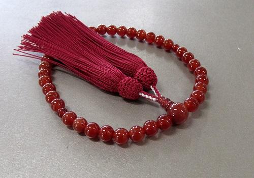 ●女性用片手念珠 瑪瑙共仕立 正絹頭房 桐箱