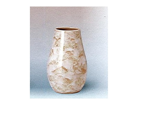 △花瓶・花立 大理石調下太花瓶 8.0寸 ベージュ×1対(2ヶ)
