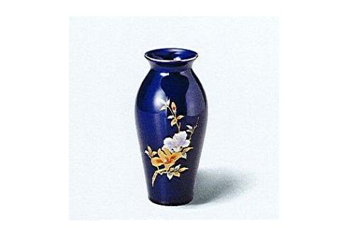 ◇花瓶・花立 美濃焼花瓶 7号ルリ細口木蓮