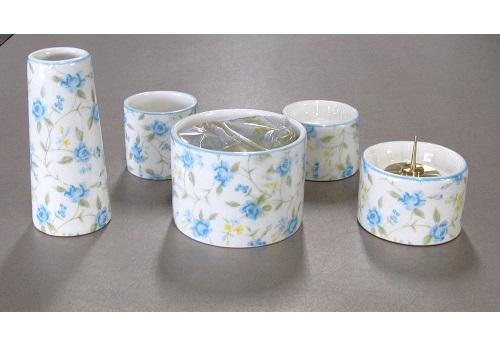 ■ゆい花 佛具5点セット (陶器製) 丸型香炉 ロマネス シアン