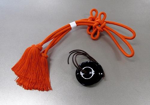 ●妙鉢用紐 小 ヘタ付 本絹 半双 妙鉢紐取付用皮紐付
