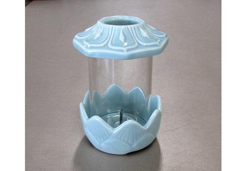 ●青磁光明燈 (小) お墓用ローソク立