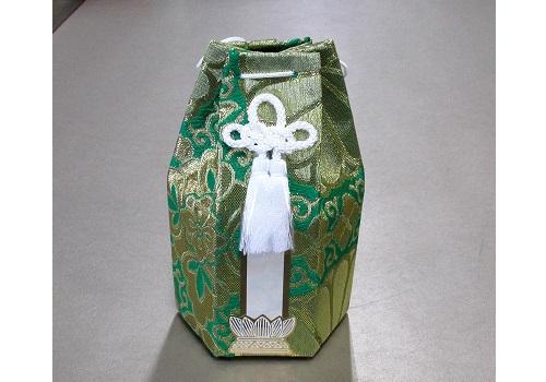 ○六角骨覆 骨袋六角 2.0寸用 並金襴 分骨袋 緑