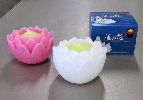 ■蓮の花 大 燭台無 ホワイト・ピンク 【マルエス】