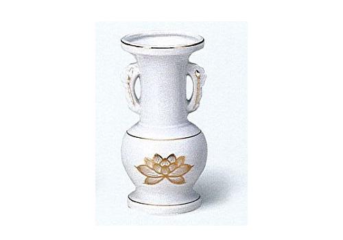 ◇花瓶・花立 白上金ハス並仏花 大