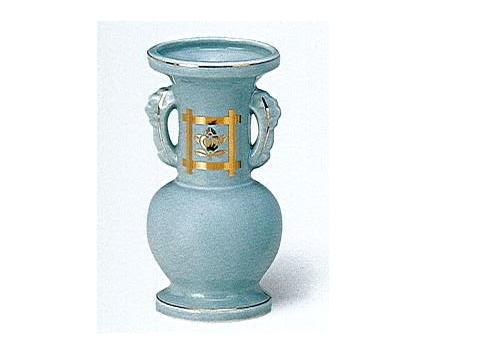 △花瓶・花立 青磁井桁橘並仏花 大×1ケース(10ヶ入)