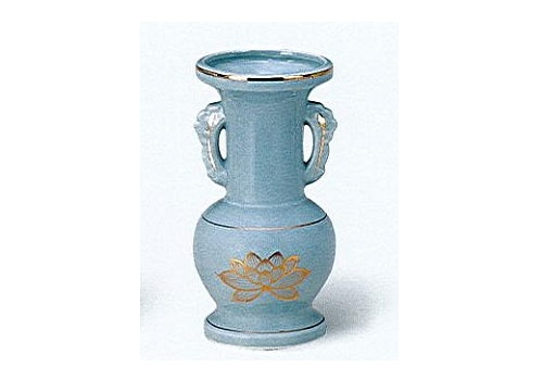△花瓶・花立 青磁上金ハス並仏花 中×1ケース(16ヶ入)