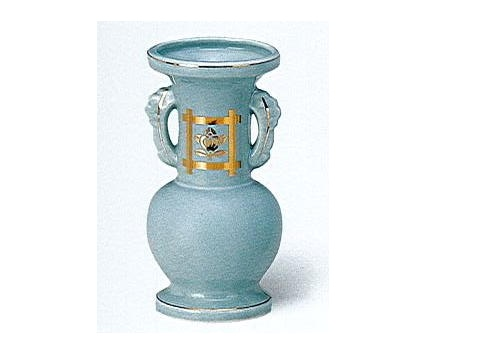 △花瓶・花立 青磁井桁橘並仏花 中×1ケース(16ヶ入)