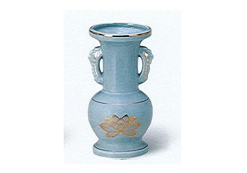 △花瓶・花立 青磁上金ハス並仏花 小×1ケース(20ヶ入)