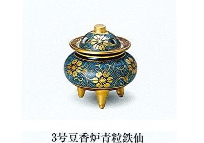 ◇九谷焼香炉 3号豆香炉青粒鉄仙
