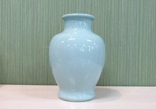 ▲花瓶・花立 青磁無地夏目花瓶 7.0寸×1ケース(2本)