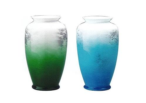 ◇花瓶・花立 雲海グリーン・雲海ブルー 8.0寸