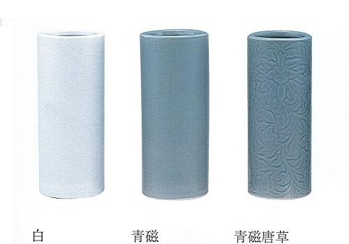 ◇花瓶・花立 白・青磁・青磁唐草 尺0