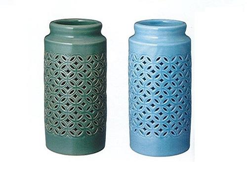 ◇花瓶・花立 青磁透かし七宝 緑青磁・淡青 8.5号