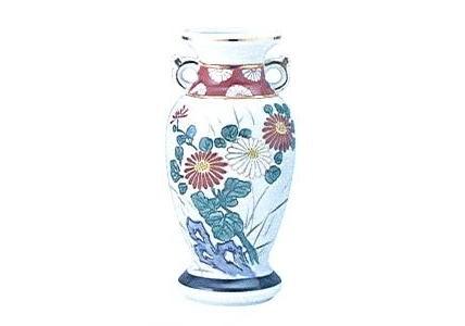 ◇花瓶・サギ型花立 赤絵 8.0寸×1対(2ヶ)