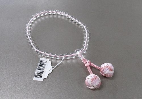 □女性用片手念珠 水晶7�o玉共仕立 かがり梵天3色房 ピンク