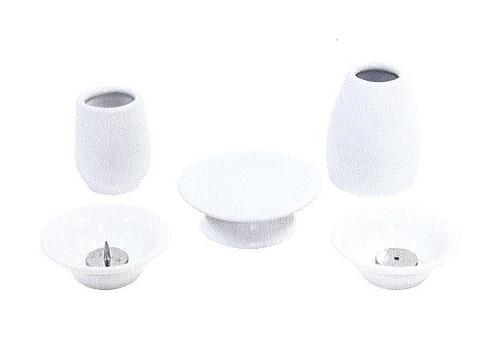 ◇おもいでのあかし仏具7点セット 大 陶器 ホワイト