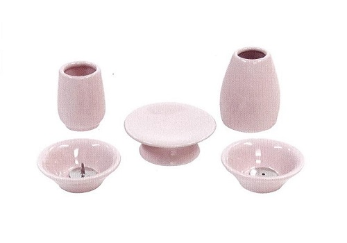 ◇おもいでのあかし仏具7点セット 大 陶器 ピンク