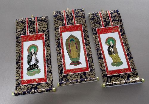 ■仏壇用掛軸 上新金 30代 浄土宗用 三幅 ※訳アリ特価品